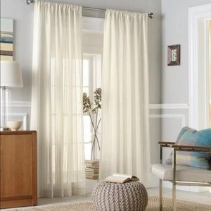 "THRESHOLD TAN TONAL STRIPE WINDOW PANEL 84"" NWOP"